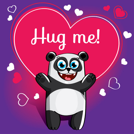 Cartoon panda ready for a hugging