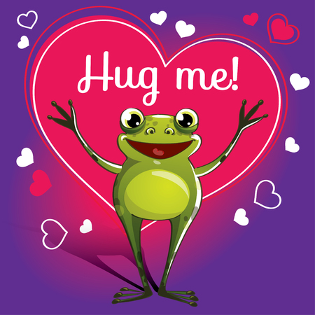 Cartoon frog ready for a hugging
