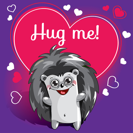 Cartoon hedgehog ready for a hugging Standard-Bild