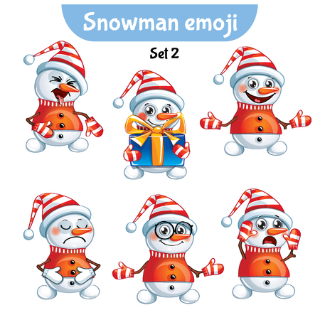 Vector set of cute snowman characters. Set 2