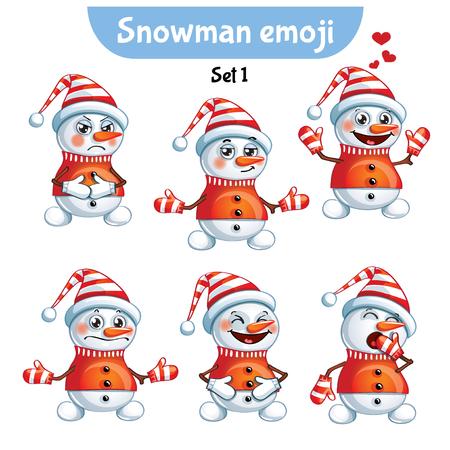 Vector set of cute snowman characters. Stok Fotoğraf