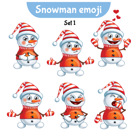 Vector set of cute snowman characters. Standard-Bild