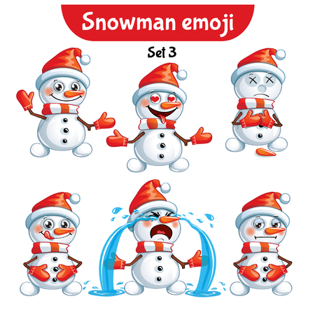Vector set of cute snowman characters. Set 3