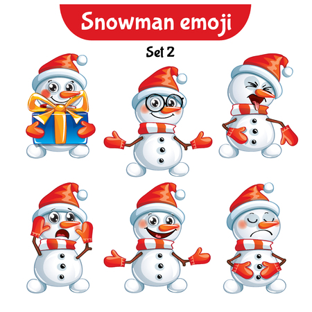 Set kit collection sticker emoji emoticon emotion vector isolated illustration happy character sweet, cute snowman Stock Photo