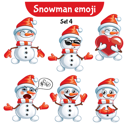 Vector set of cute snowman characters. Set 4