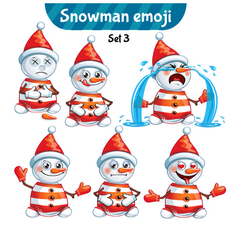 Vector set of cute snowman characters. Set 3