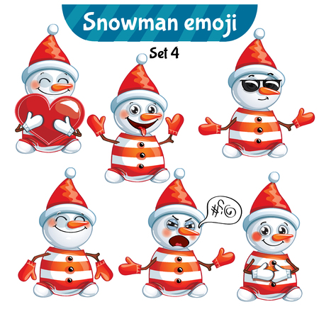 Vector set of cute snowman characters. Set 4