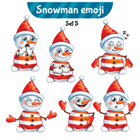 Vector set of cute snowman characters. Set 5