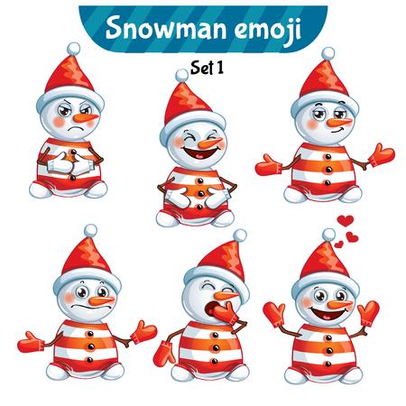Vector set of cute snowman characters. Set 1