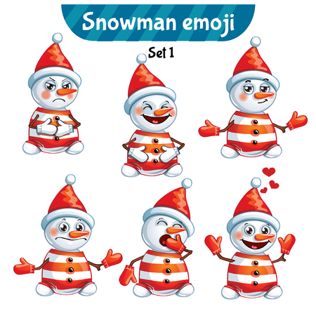 Vector set of cute snowman characters. Set 1