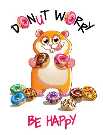 Vector illustration of cartoon hamster with donuts
