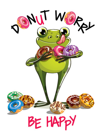 A Vector illustration of cartoon frog with donuts.