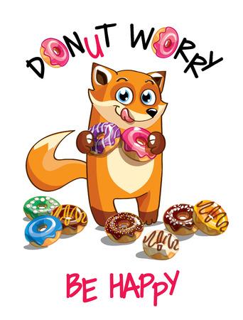 Vector illustration of cartoon fox with donuts.