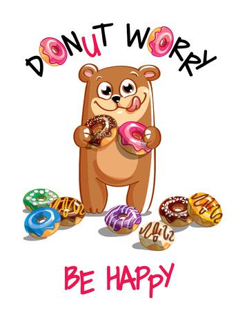Vector illustration of cartoon bear with donuts.