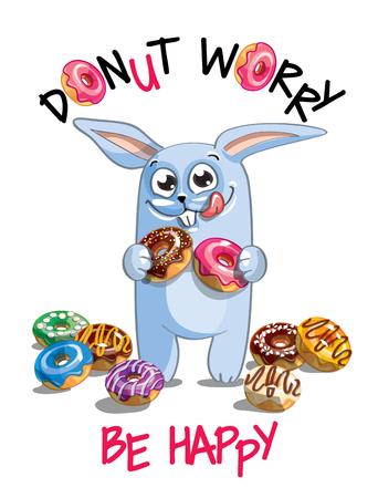 Vector illustration of cartoon rabbit with donuts.