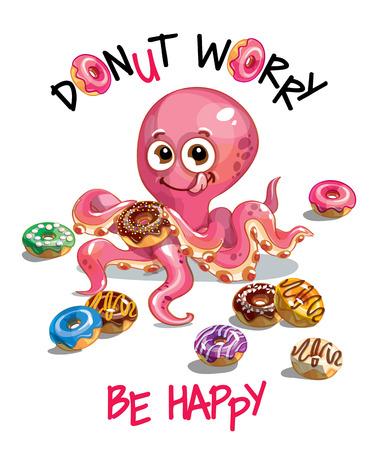 Vector illustration of cartoon octopus with donuts Çizim