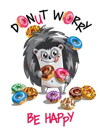 Vector illustration, cartoon hedgehog with donuts
