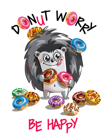 Vector illustration, cartoon hedgehog with donuts