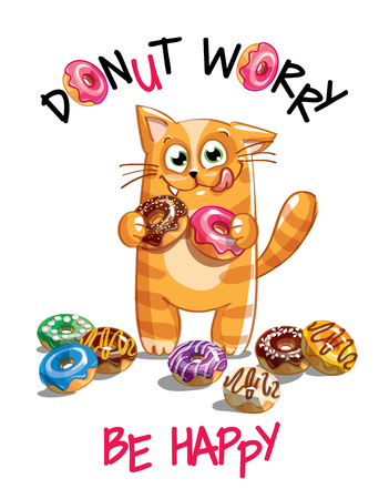 Vector illustration of cartoon cat with donuts.