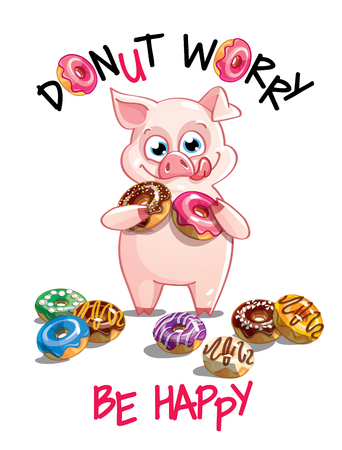 Vector illustration of cartoon pig with donuts.