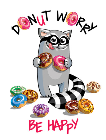 Vector illustration of cartoon raccoon with donuts