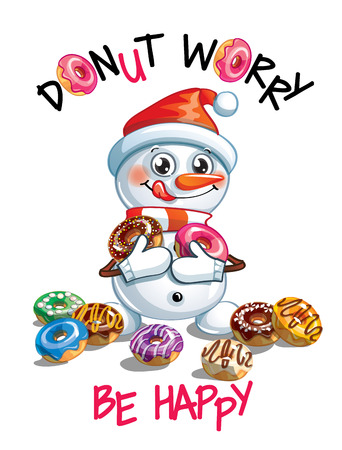 Vector illustration of cartoon snowman with donuts