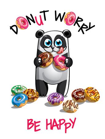Vector illustration of cartoon panda with donuts. Çizim