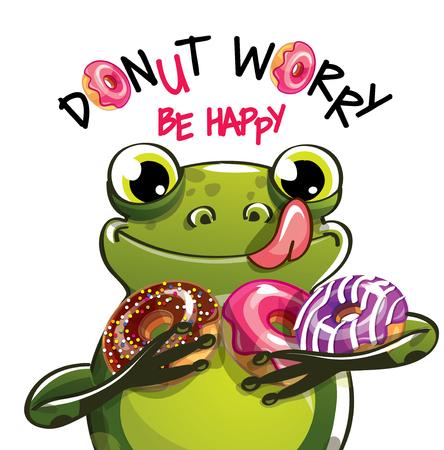 Vector illustration of cartoon frog with donuts. Stock Illustratie