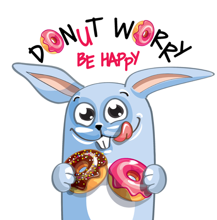 Vector illustration of cartoon rabbit with donuts.