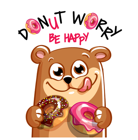 Vector illustration of cartoon bear with donuts.