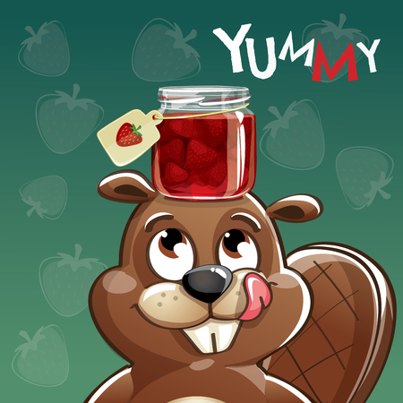 Vector illustration of cute cartoon happy fun beaver with strawberry jam. Greeting card, postcard. Yummy