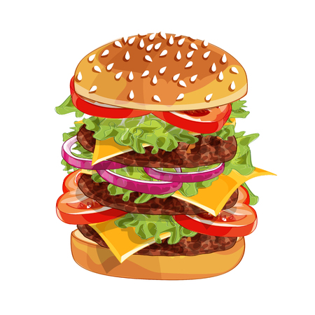 Vector realistic illustration pattern of burger, delicious hamburger with ingredients lettuce, onion, patty, tomato, cheese, bun isolated on white background Illustration