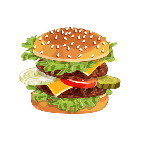 Vector realistic illustration pattern of burger, delicious hamburger with ingredients lettuce, onion, patty, tomato, cheese, bun isolated on white background Çizim
