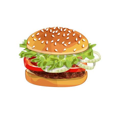Vector realistic illustration pattern of burger, delicious hamburger with ingredients lettuce, onion, patty, tomato, cheese, bun isolated on white background Ilustração