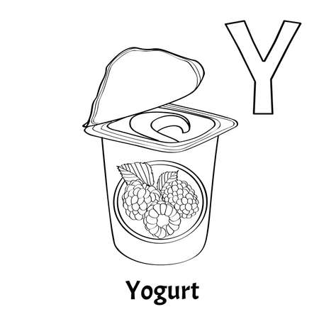 Vector alphabet letter Y for children education with with raspberry yogurt. Isolated. Learn to read. Coloring page.