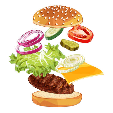 Vector realistic illustration pattern of jumping burger, delicious exploded hamburger with ingredients lettuce, onion, patty, tomato, cheese, bun isolated on white background
