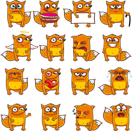 16 smiley foxes individually grouped for easy copy-n-paste. (2)  イラスト・ベクター素材
