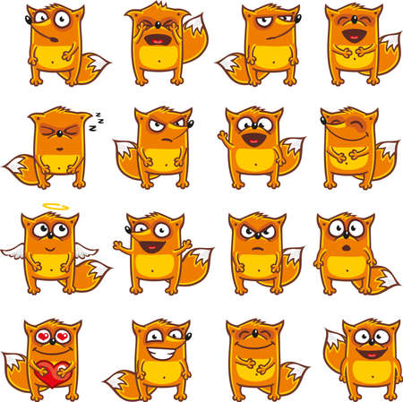 16 smiley foxes individually grouped for easy copy-n-paste. (1)  イラスト・ベクター素材