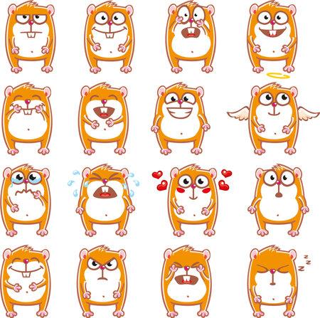 16 smiley hamsters Illustration