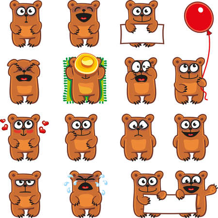 15 smiley bears individually grouped for easy copy-n-paste.  イラスト・ベクター素材