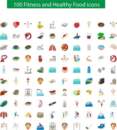100 Health & Fitness icon set for Personal trainer & Fitness lover