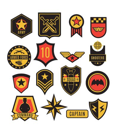 US Army badges, wings, patches and signs symbol set