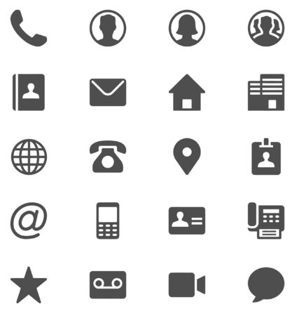 Complete multipurpose contact icon set for web design, graphics design.