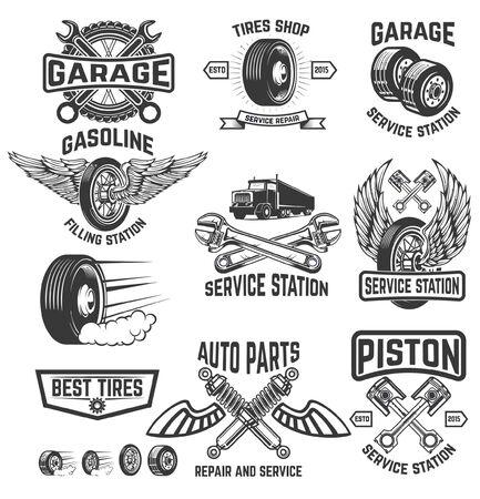 Complete garage vector set for motor workshop, automobiles workshop Vektorgrafik
