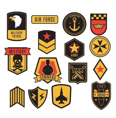 Military insignia, ranks, badges and patches set. 矢量图像