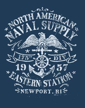 Vintage Nautical Design for Apparel of garments and textiles Ilustración de vector
