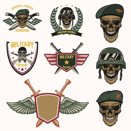 Set of military emblems of special force. Garments design element.