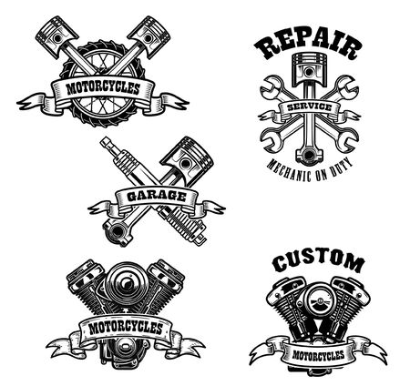 Set of motorcycle repair emblems. Motor, tools, piston. Design element for label, emblem, sign, t-shirt.