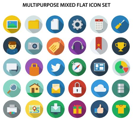 A great collection of mixed flat icon for web design, graphics design.