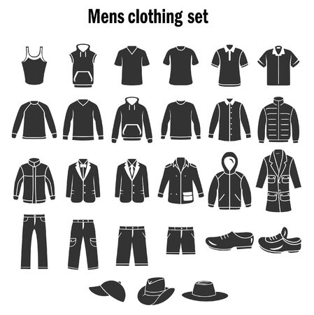 Male clothing drawing set for garments bulk print, fashion house usage and for textiles Illustration